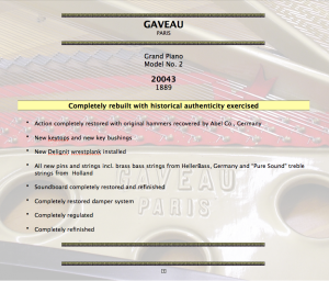 Gaveau Paris Piano Restoration In New Orleans Spec Sheet Image - Hall Piano Company